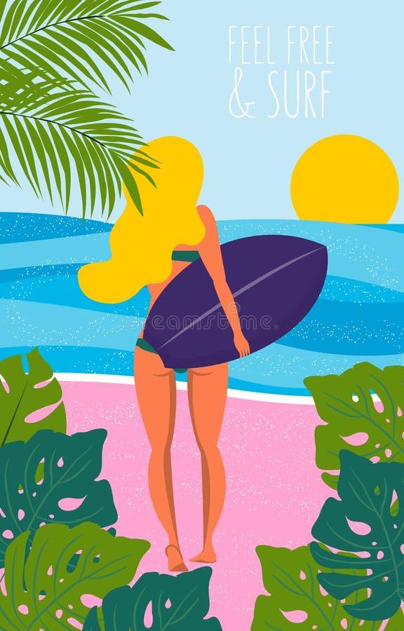 与冲浪者女孩的海报有在海滩的longboard的 海滩在减速火箭的样式的生活方式海报 平的例证 皇族释放例证