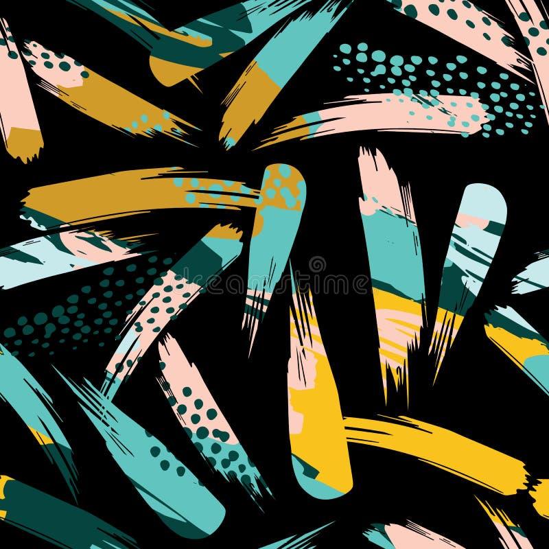 与冲程的抽象艺术性的无缝的样式 时髦手拉的纹理 现代 库存例证