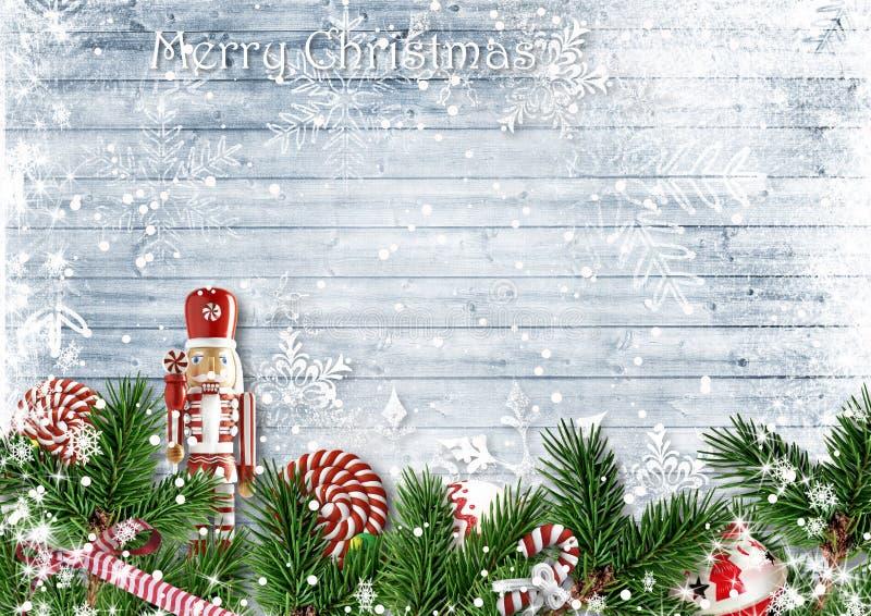 与冷杉分支、胡桃钳、糖果和snowfa的圣诞节边界 库存照片