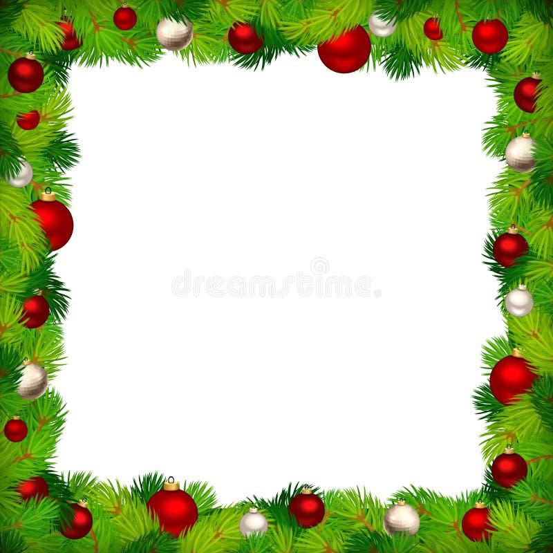 与冷杉分支和红色和银色球的圣诞节框架 也corel凹道例证向量 向量例证