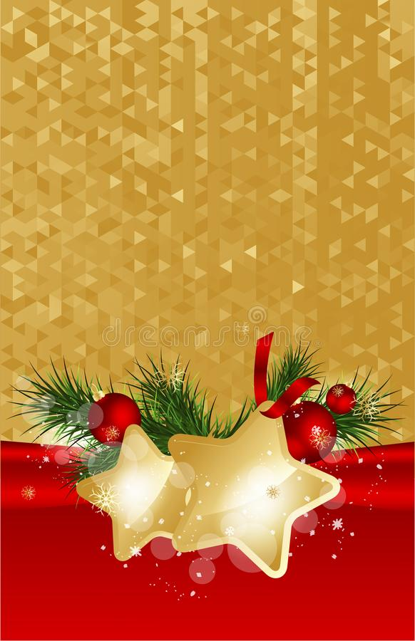 与冷杉分支和金子的圣诞节背景担任主角与装饰 也corel凹道例证向量 皇族释放例证
