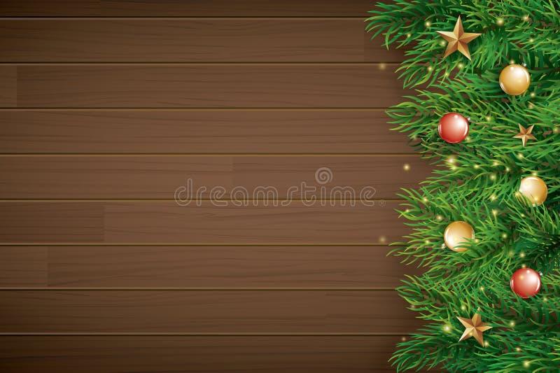 与冷杉分支的圣诞节在棕色木背景 传染媒介例证文本的顶视图和拷贝空间 贺卡的用途 向量例证