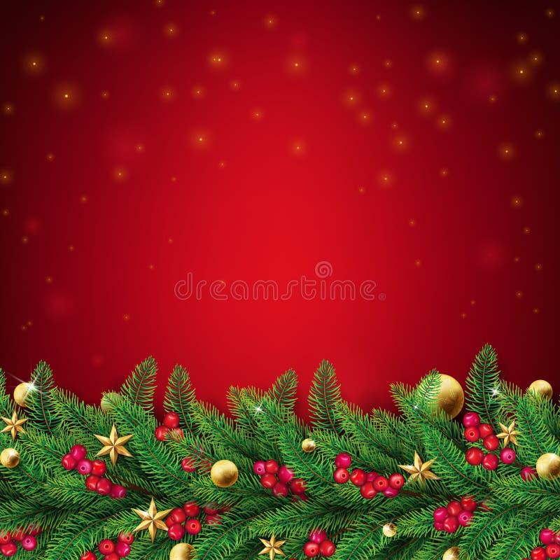 与冷杉分支的圣诞节红色背景 库存例证