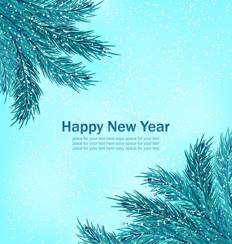 Download 与冷杉分支的新年快乐背景 向量例证. 插画 包括有 森林, 问候, 装饰, 蓝色, 愉快, 具球果, 邀请 - 62529776