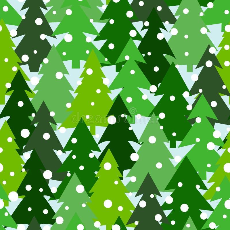 与冷杉木和杉木绿色剪影的无缝的样式  冬天森林背景 剪贴薄数字式纸 库存例证