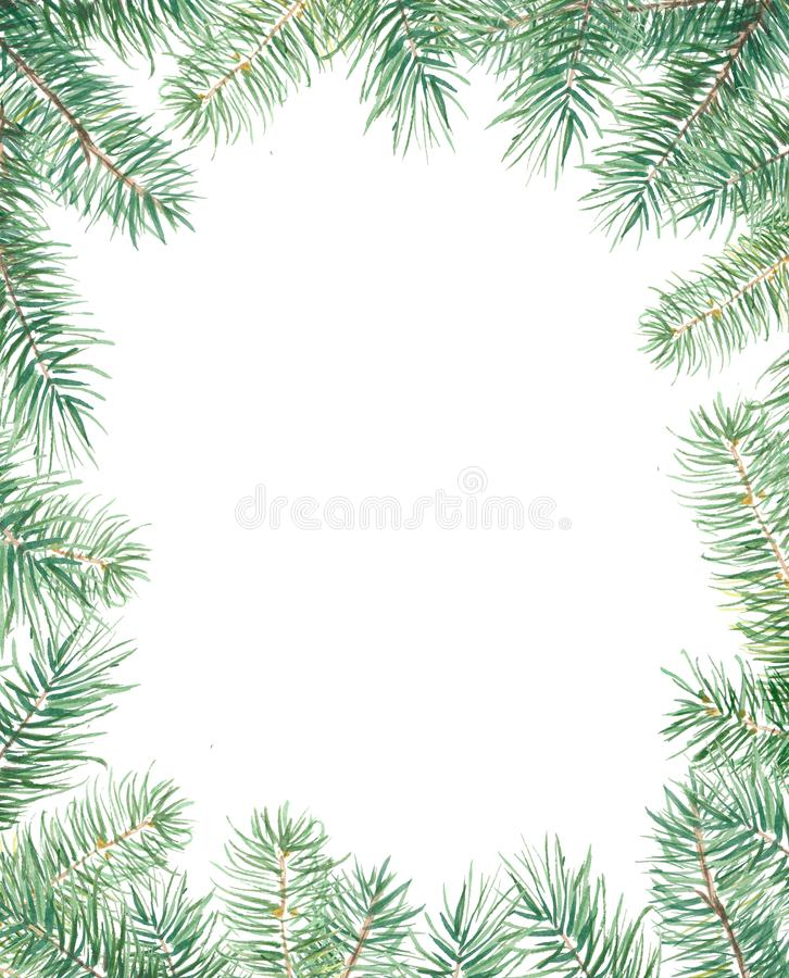 与冷杉木边界的圣诞快乐样式 在白色隔绝的水彩手拉的例证 向量例证