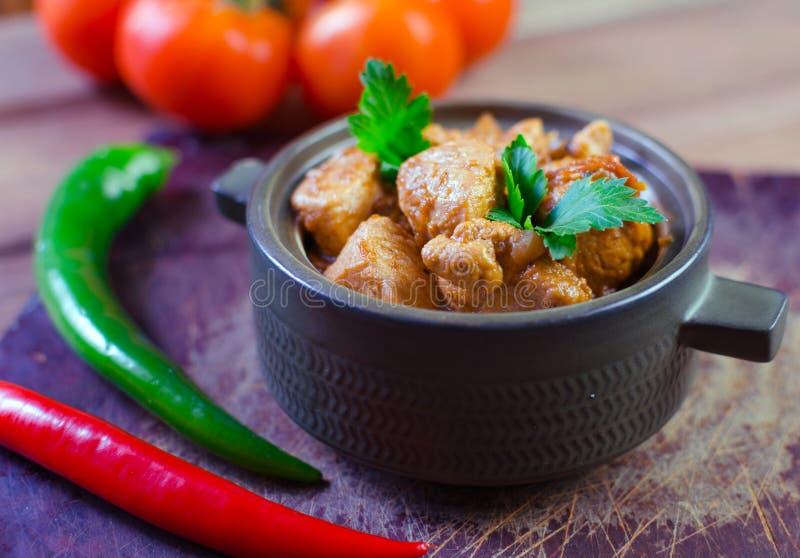 与冷颤的新鲜的自创鸡咖喱在葡萄酒陶瓷碗 库存照片