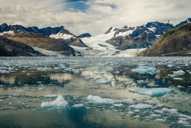 与冻浮冰的哥伦比亚冰川在威廉王子湾,阿拉斯加 免版税库存图片