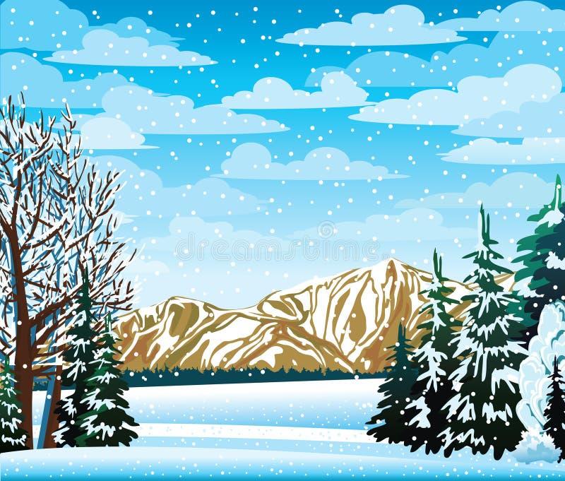 与冻结结构树的冬天横向 皇族释放例证