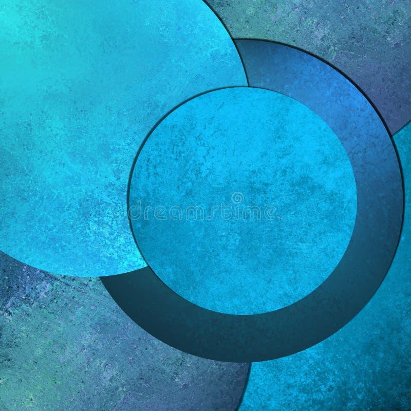 与凉快的圆的圈子设计形状的明亮的天蓝色摘要背景图象和葡萄酒难看的东西背景构造设计版面 库存例证