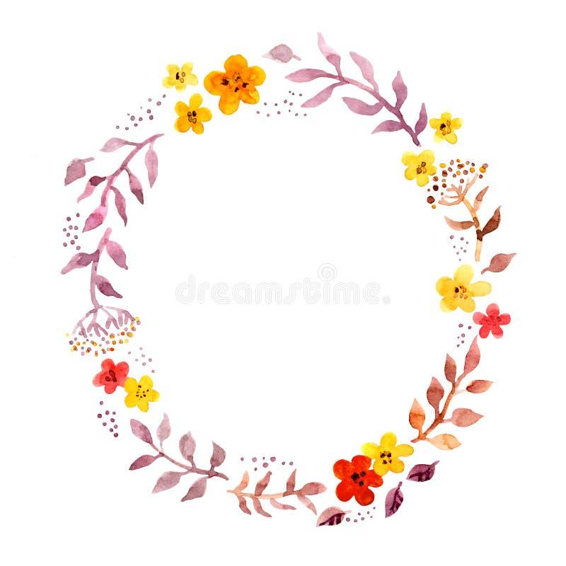 与减速火箭的天真逗人喜爱的花的花卉圆环花圈 明信片的水彩手画圆的框架 向量例证