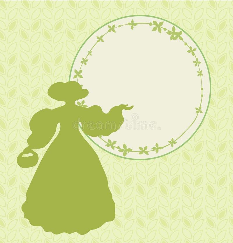与减速火箭的妇女剪影的横幅和圆的花卉在葡萄酒样式的框架典雅的模板卡片的,标签,邀请 皇族释放例证
