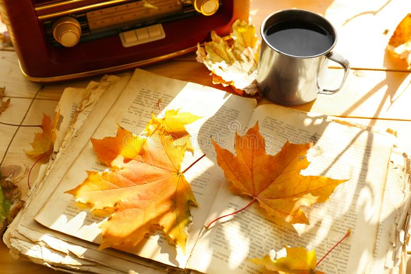 与减速火箭的收音机的老开放书和在木桌上的秋叶 免版税库存图片