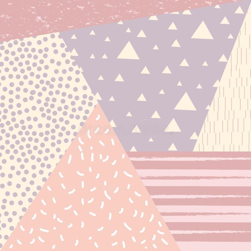 与减速火箭的样式纹理、样式和几何元素的时髦孟菲斯样式背景 皇族释放例证