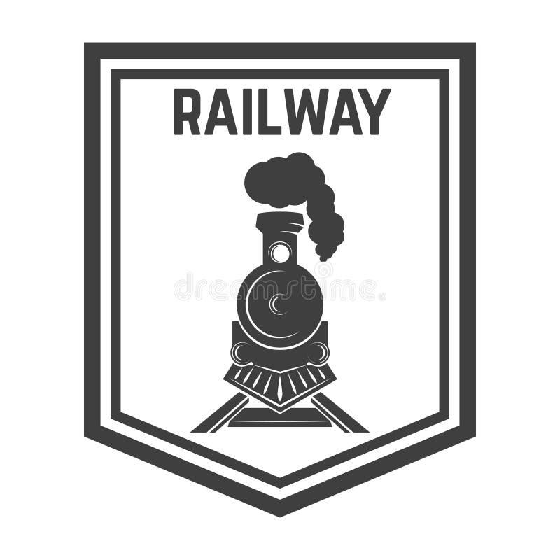 与减速火箭的火车的象征模板 照片点铁路消失乌贼属的口气 机车 设计商标的,标签,象征,标志元素 库存例证