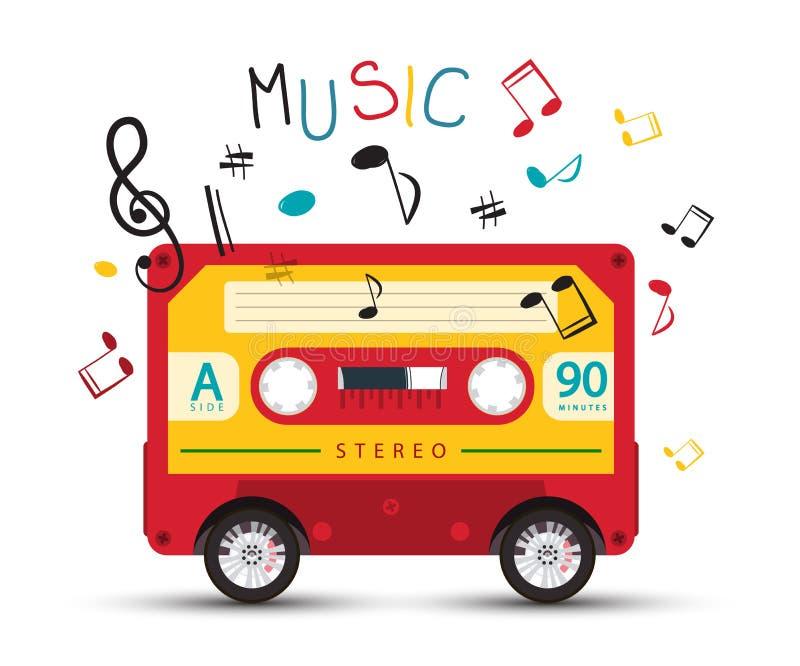 与减速火箭的红色卡型盒式录音机在轮子和五颜六色的笔记的质朴的音乐设计关于白色背景 库存例证