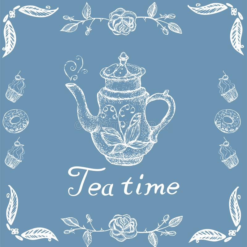 与减速火箭的茶壶和被仿造的传染媒介图象的储蓄例证茶时间 向量例证