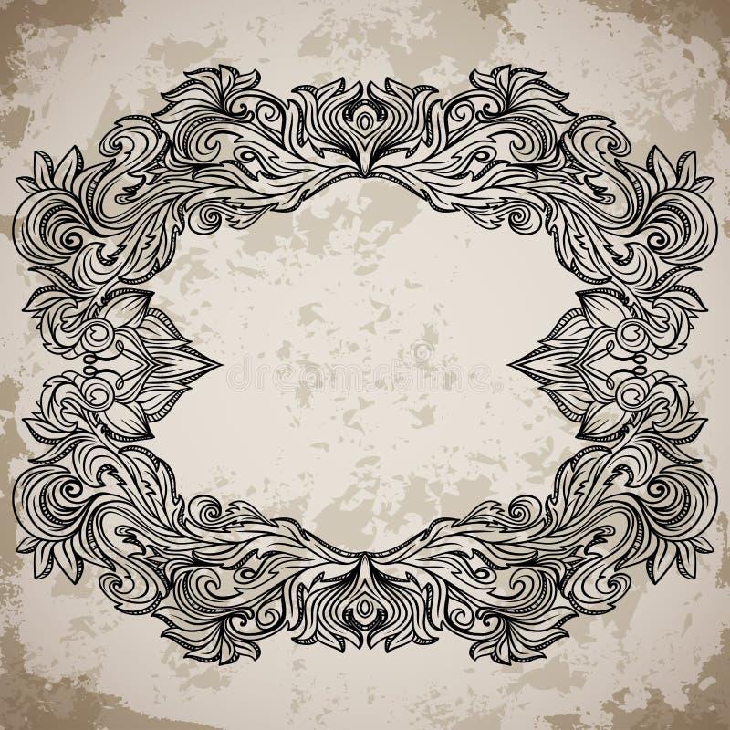 与减速火箭的装饰品样式的古色古香的边界框架板刻 在巴洛克式的样式的葡萄酒设计装饰元素在年迈的纸 向量例证