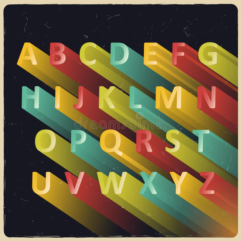 与减速火箭的颜色的长的被挤压的传染媒介字母表 库存例证