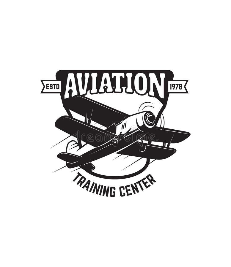 与减速火箭的飞机的象征模板 设计商标的,标签,象征,标志元素 向量例证