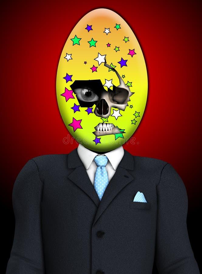 阴险复活节彩蛋头骨人 免版税库存照片