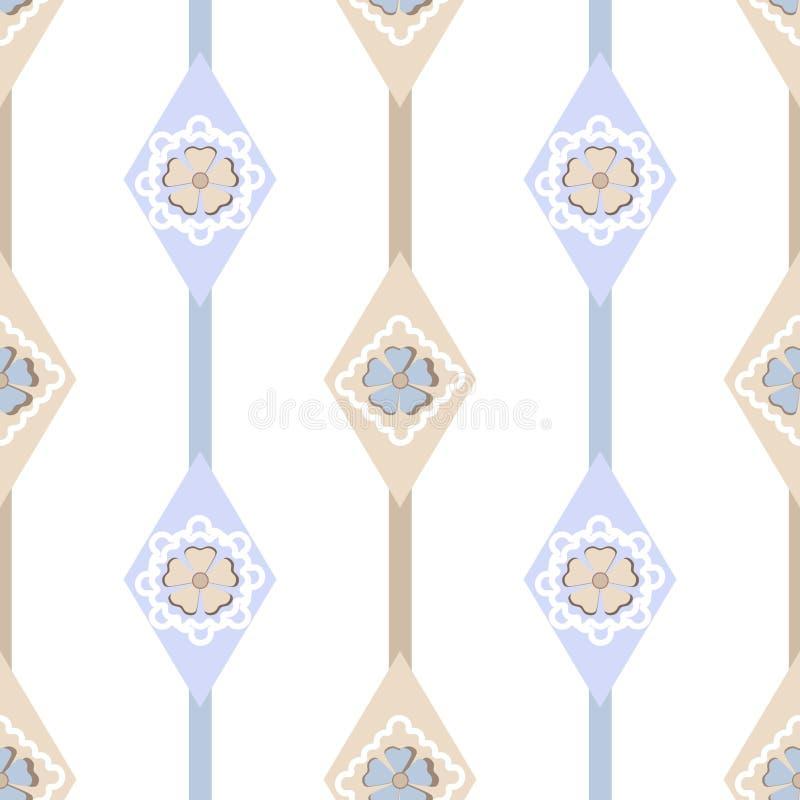 与几何元素ba的无缝的华丽简单的花卉样式 皇族释放例证