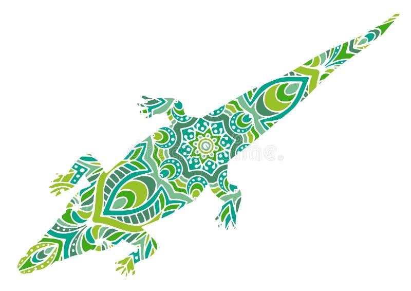 与几何和花卉元素的手拉的传染媒介例证 原始的手拉的鳄鱼 库存例证