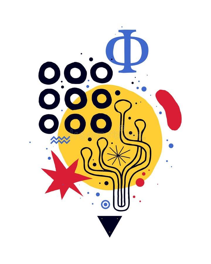 与几何和花卉元素的抽象垂直的构成 能为网络设计,卡片,邀请使用 皇族释放例证