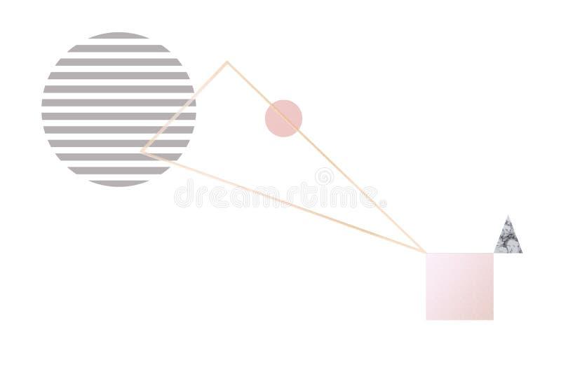 与几何图的抽象背景在淡色金子,溜冰场,灰色,大理石最低纲领派样式,趋向设计 皇族释放例证
