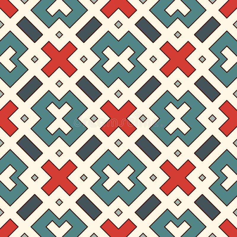 与几何图的无缝的样式 重复的正方形和菱形装饰抽象背景 向量例证
