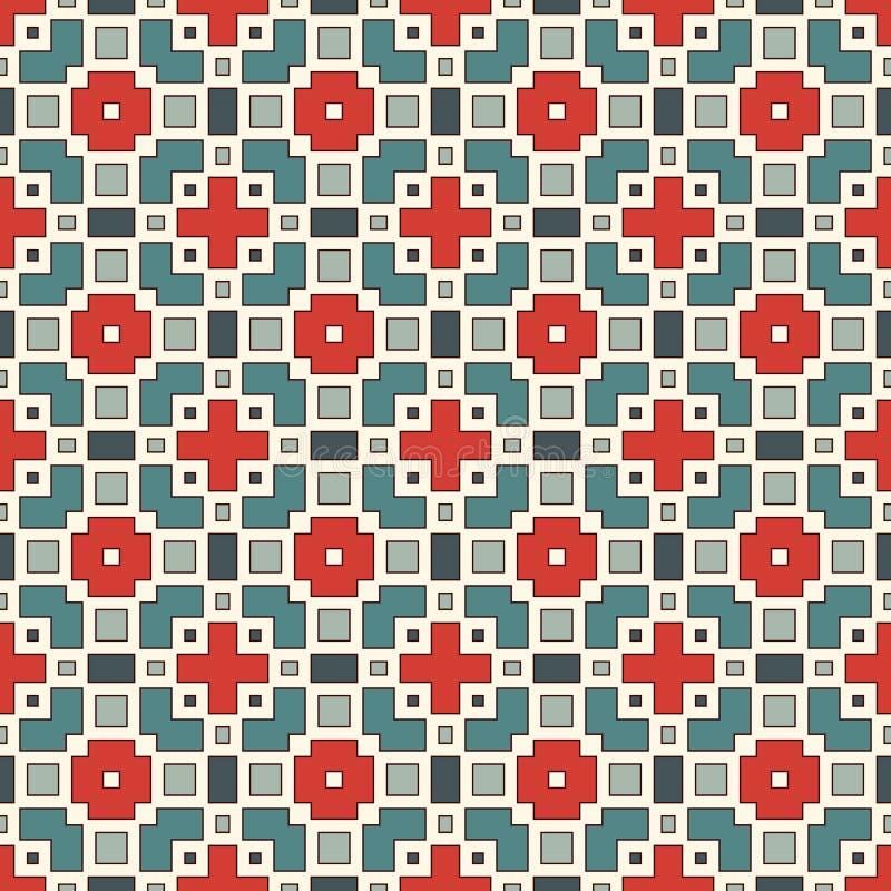 与几何图的无缝的样式 重复的正方形和菱形装饰抽象背景 皇族释放例证