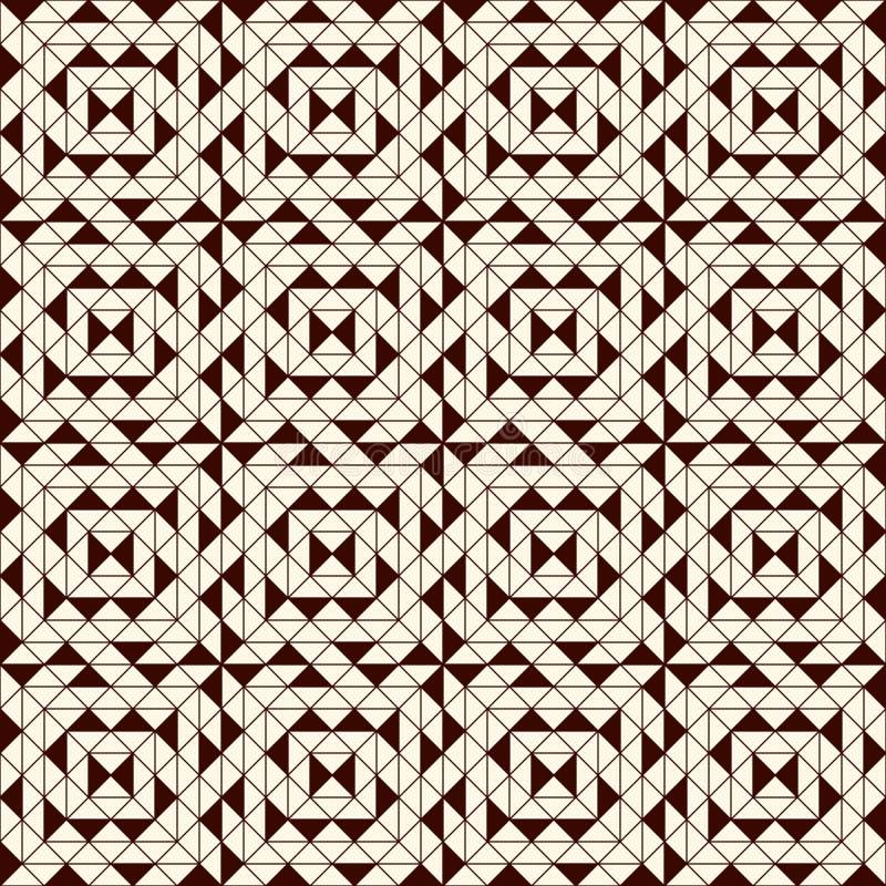 与几何图的概述无缝的样式 重复的正方形和菱形装饰抽象背景 向量例证