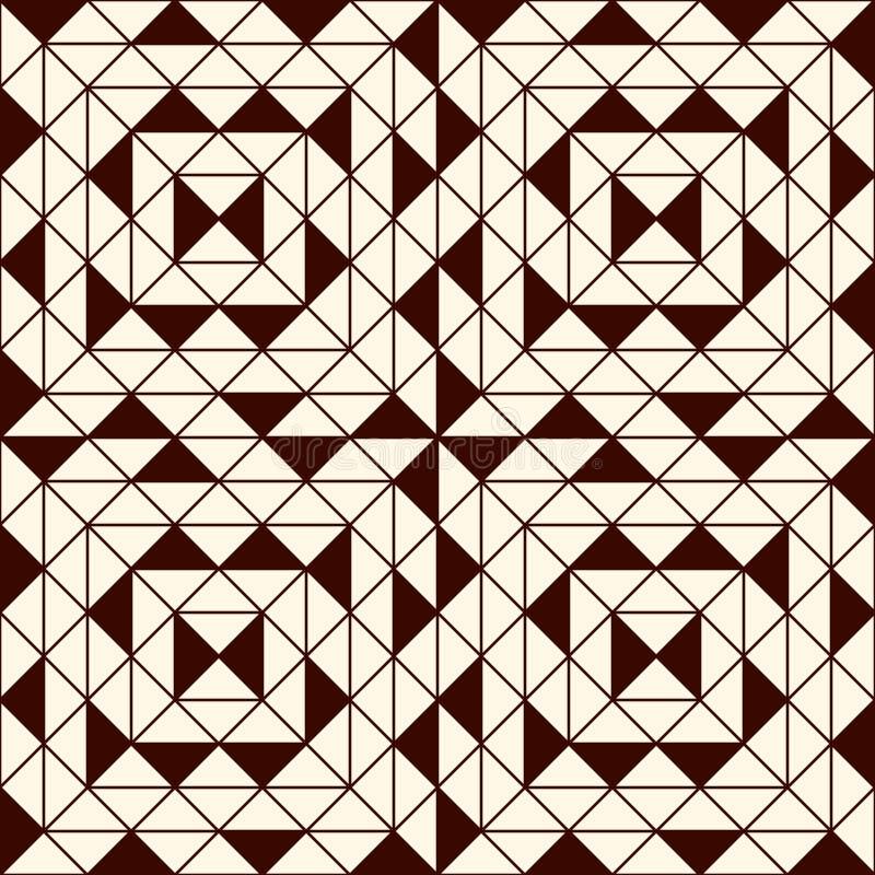 与几何图的概述无缝的样式 重复的正方形和菱形装饰抽象背景 皇族释放例证