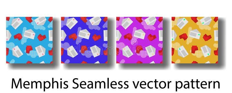 与几何小册子、海报、横幅和墙纸的孟菲斯样式图的盖子模板  无缝的模式 库存例证
