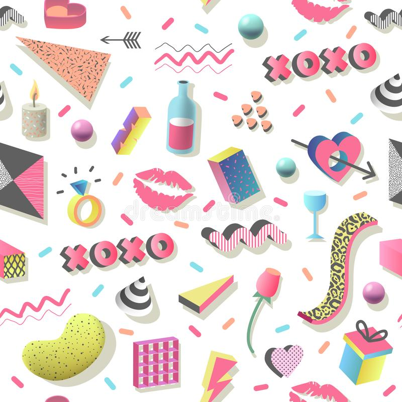 与几何形状、心脏和嘴唇的浪漫抽象无缝的样式 织品的时髦80s 90s情人节背景 库存例证
