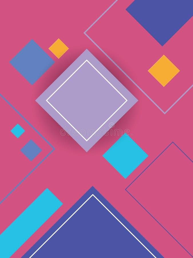 与几何形状和明亮的颜色的现代物质设计背景 向量例证