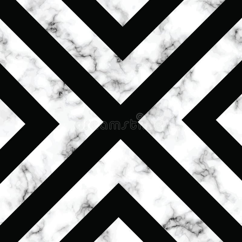 与几何形状的传染媒介大理石纹理设计,黑白使有大理石花纹的表面,现代豪华背景 库存例证