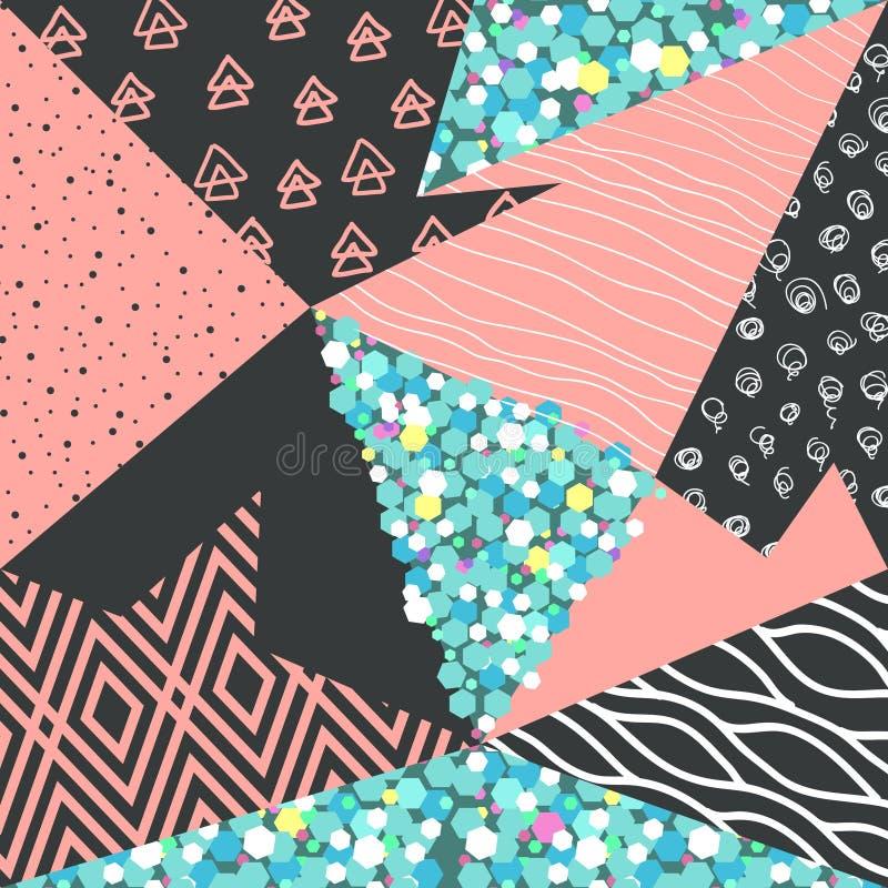 与几何形状的抽象孟菲斯无缝的样式 与三角的行家背景 织品的葡萄酒80s 90s设计 库存例证