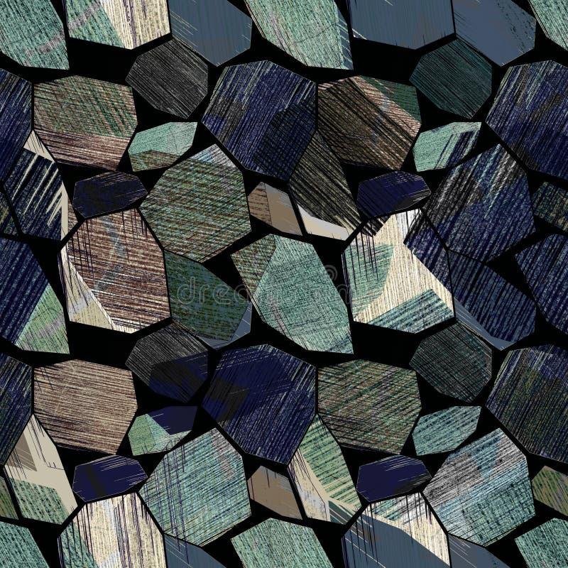 与几何形状的无缝的抽象样式在与水彩作用的黑背景 皇族释放例证