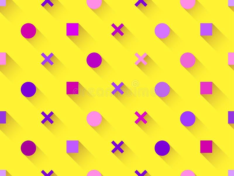 与几何形状的无缝的样式,正方形,与阴影的圈子在黄色背景 紫色、伯根地和桃红色 向量 向量例证