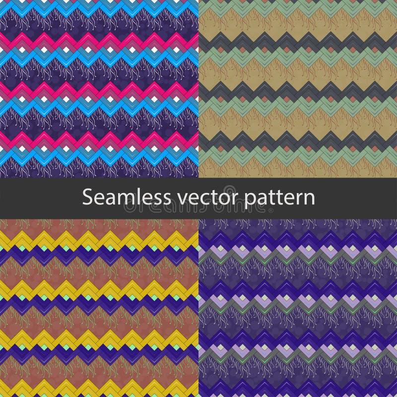 与几何形状的样式16无缝的传染媒介样式 库存例证