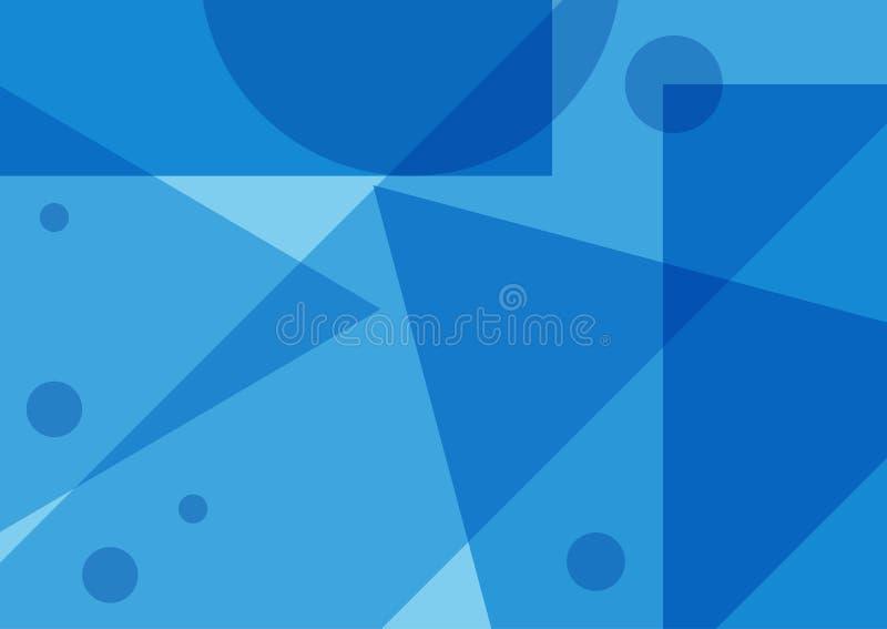 与几何形状的长方形抽象蓝色背景 向量例证