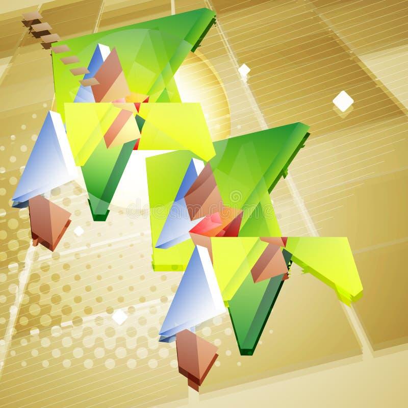 与几何形状的难看的东西未来派3d抽象背景 向量例证