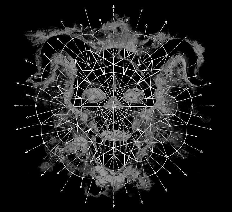 与几何样式的灰色恶魔剪影在黑色 免版税库存图片