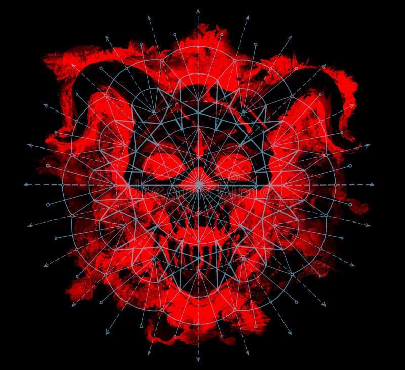 与几何样式的红魔剪影在黑色 免版税库存图片