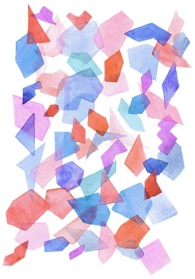 与几何样式的水彩背景 免版税库存照片