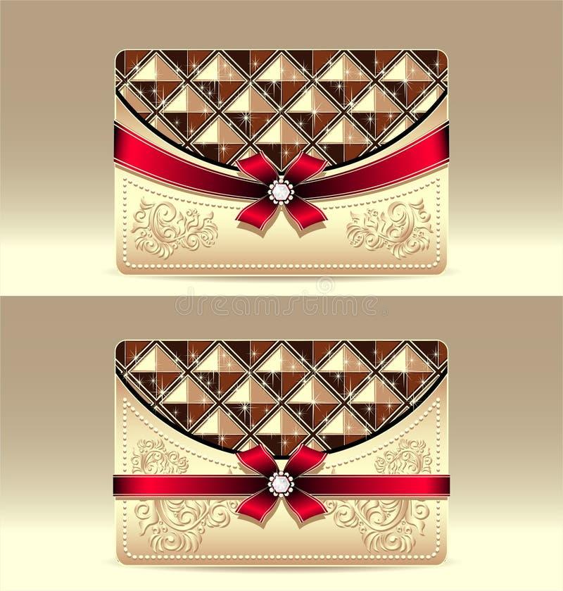 与几何样式红色弓丝带的礼品券   向量例证