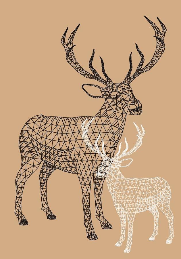 与几何样式,传染媒介的圣诞节驯鹿 库存例证