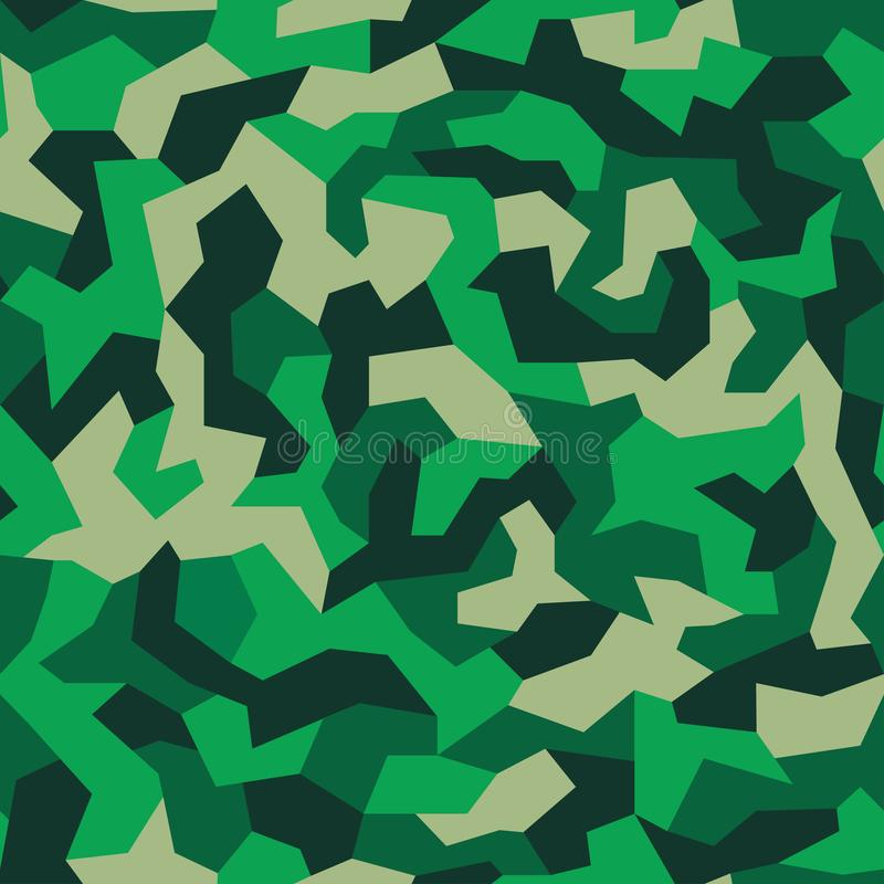 与几何样式,无缝的纹理的伪装 在军事样式的抽象时髦墙纸 绿色卡其色的颜色背景 皇族释放例证