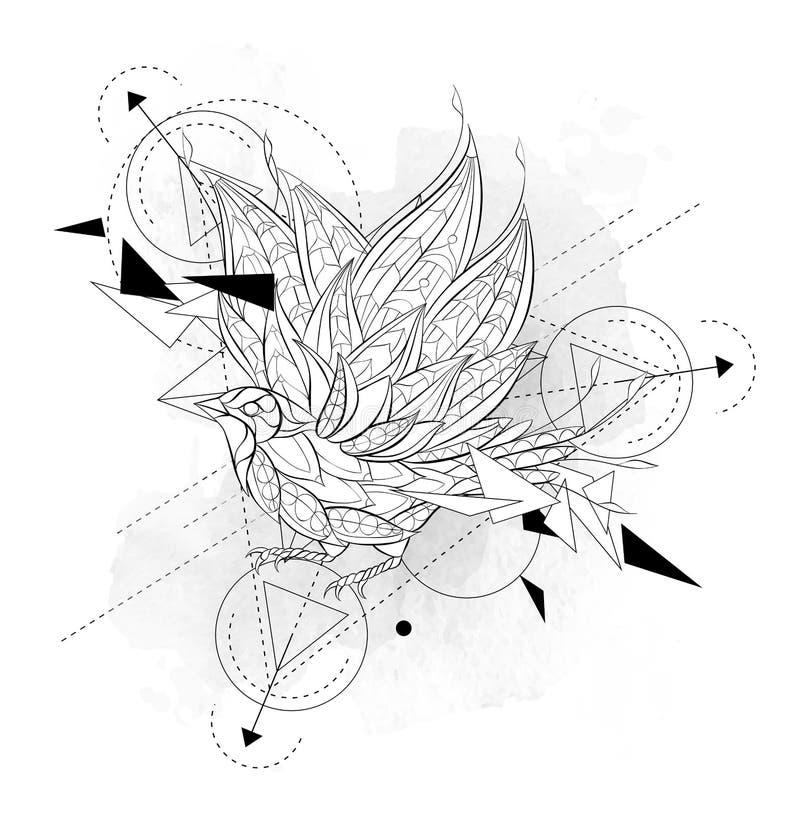 与几何的被仿造的飞鸟 向量例证